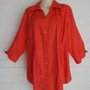 Coldwater Creek 2X orange linen tucked front tunic